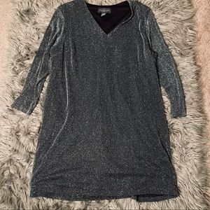 Long Sleeve Glitter Shift Dress